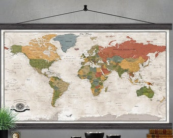Large World Map | Push Pin Travel Map | Printed on Canvas | A Detailed Modern World Map |  Modern Tans