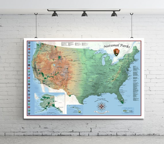 USA Travel Map. National Parks Map. Push Pin Travel Map. | Etsy