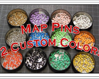 Map Push Pins.  Set of 80 Colorful Organic Map Push Pins. Choose Your Colors