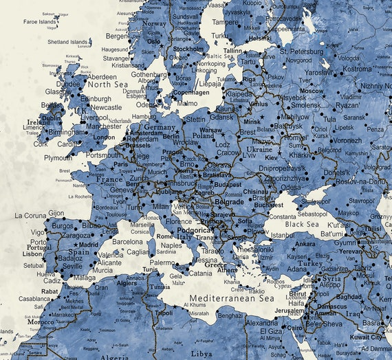 Large Push Pin Travel Map. 40x60 or 44x72 Canvas Hanging Map. Push Pin Map.  Vintage Look. MODERN BLUE CREAM