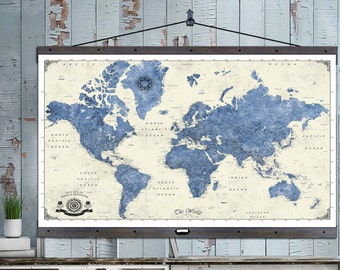 Large Push Pin Travel Map. 40x60 or 44x72 Canvas Hanging Map. Push Pin Map. Vintage Look. Map 205a