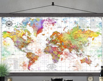 Large World Map | Travel Map  Printed on Canvas | Detailed World Map | Modern World Map. Watercolors