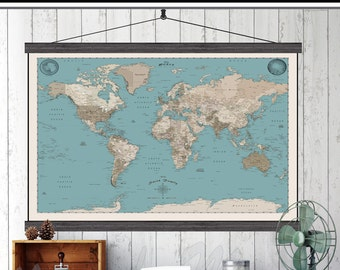 World Push Pin Travel Map. 40x60 or 44x72 Canvas Hanging Map. Push Pin Map. Vintage Look. Map 214 brnblue