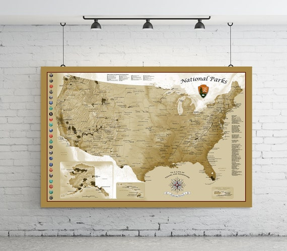 USA Travel Map. National Parks Map. Push Pin Travel Map. Personalized and  includes Push Pins. Framed or Hanging. 18x24 to 40x60. Map 305 tan