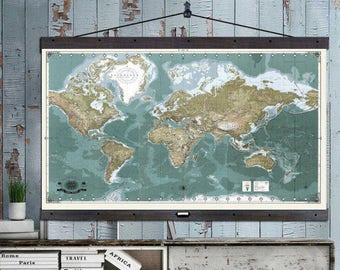 The Most Detailed World Travel Map. Push Pin Travel Maps. 40x60  Hanging Map printed on Canvas. Push Pin Map. Map MM2017b Vintage Greens