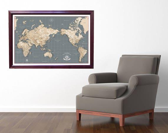 World push pin travel map asia and australia centered map etsy image 0 gumiabroncs Images