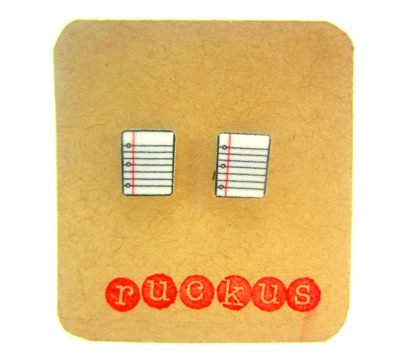 Notebook Paper Earrings Reading Jewelry Writer Jewelry image 0