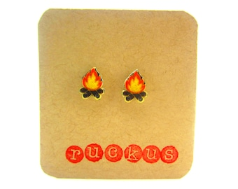 Campfire Stud Earrings, Campfire Jewelry, Camping Jewelry, Camping Accessories, Camping Earrings, Nature Earrings, Nature Jewelry