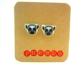 Lemur Stud Earrings, Lemur Jewelry, Animal Jewelry, Animal Accessories, Animal Lover, Animal Gift, Wild Animal, Zoo