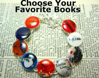 Custom Book Bracelet, Favorite Books Bracelet, Book Jewelry, Literature Jewelry, Literature Bracelet, Book Lover Gift, Bookworm Gift