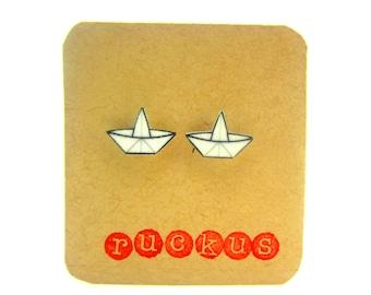 Paper Boat Stud Earrings, Paper Boat Jewelry, Origami Boat Earrings, Origami Jewelry, Origami Gift, Origami Paper