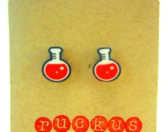 Science Earrings, Chemistry Earrings, Beaker, Geek Earrings, Science Jewelry, Nerd Jewelry, Nerd Earrings, Chemistry Jewelry, Science Gift