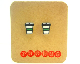 Coffee To Go Cup Earrings, Coffee Cup Jewelry, Coffee Earrings, Coffee Mug Earrings, Coffee Mug Jewelry, Coffee Cup Studs