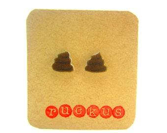Poop Stud Earrings, Fun Earrings, Funny Earrings, Gag Gift, Fun Earrings, Joke Jewelry, Joke Earrings, Women, Men