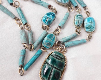 Scarab Necklace-Egyptian Turquoise Faience, Handcrafted, Unique.