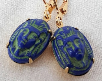 1920's Earrings-Rare Collectable Art Deco Neiger Brothers Egyptian Revival, Lapis Lazuli Blue Glass.