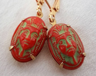 1920's Earrings-Pharaoh Head Deadstock, Rare Collectable Art Deco, Neiger Brothers, Egyptian Revival Red Coral Glass.