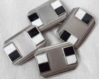 1930's Cufflinks, Black and White Enamel and Chrome.