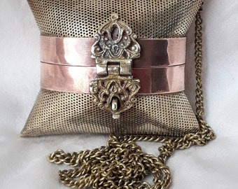 1970's Purse Pendant, Brass and Copper Cushion.
