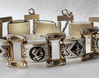 Midcentury Bracelet, Spanish Souvenir-Toledo Ware-Damascene-Dancers.