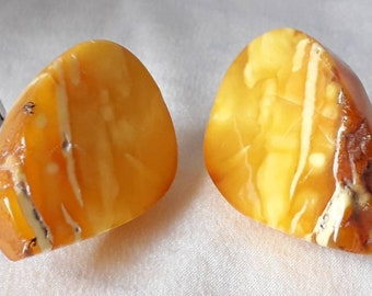Amber Cufflinks Amazing Huge Chunks of Natural Baltic Forms.