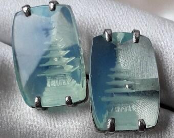 Pagoda Cufflinks-Chunky Japanese Midcentury Reverse Carved 3D Crystal Design.
