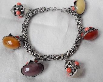 Fabulous Bracelet, 1980's Chunky Etruscan Charms, Unusual.