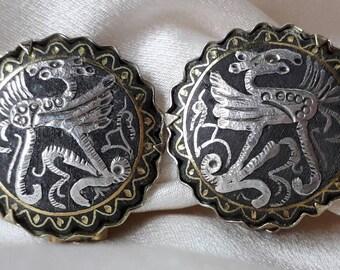 Unusual Earrings, Midcentury Engraved Griphons.