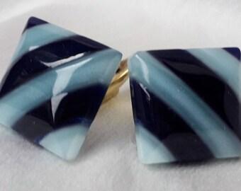 1940's Cufflinks, Chunky Blue Lucite Stripes.