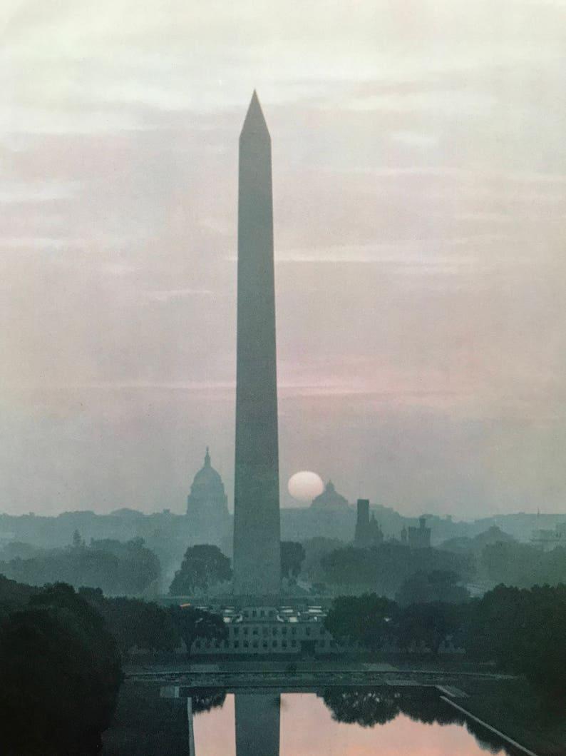 Vintage Photo United States Capitol Sunset Behind the Washington Monument