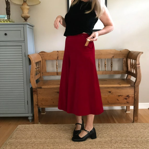 Vintage Gauchos Cherry Red Velvet By Anne Klein, N