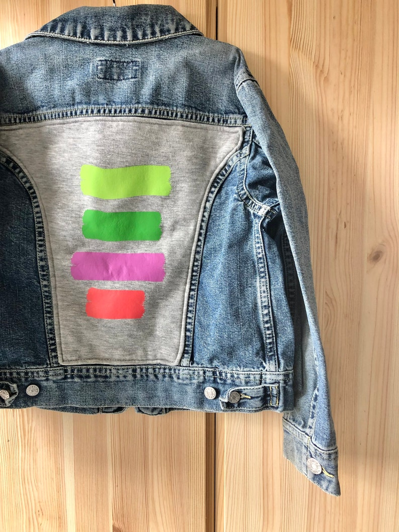 Denim jacket brush stripes