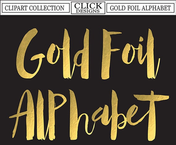 GOLD FOIL ALPHABET Digital ClipArt: Letters Numbers Symbols | Etsy