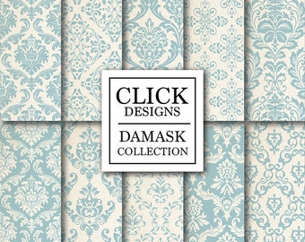 "Damask Digital Paper: ""DAMASK SOFT BLUE"" digital papers with soft blue vintage elements, for scrapbooking, invites, carts, crafts"