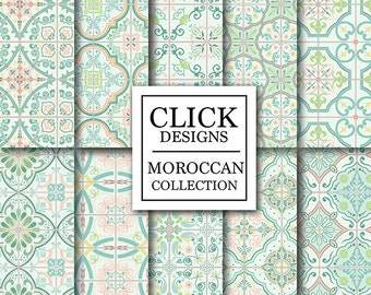 "Moroccan Digital Paper: ""RETRO MINT MOROCCAN Tiles"" retro seamless mosaic scrapbook papers in mint and coral, Lisbon tiles, arabesque ethnic"