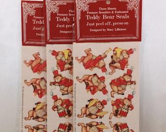 "Vintage Shackman 3 Packages of 3 Sheets Pressure Sensitive & Embossed ""Teddy Bear Seals"". 21257"