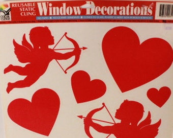 Vintage Color Clings Valentine's Day Hearts. Reusable Window Clings. 1 Sheet