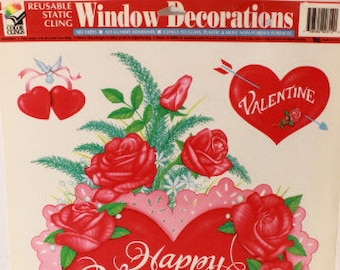 Vintage Color Clings Happy Valentine's Day. Reusable Window Clings. 1 Sheet