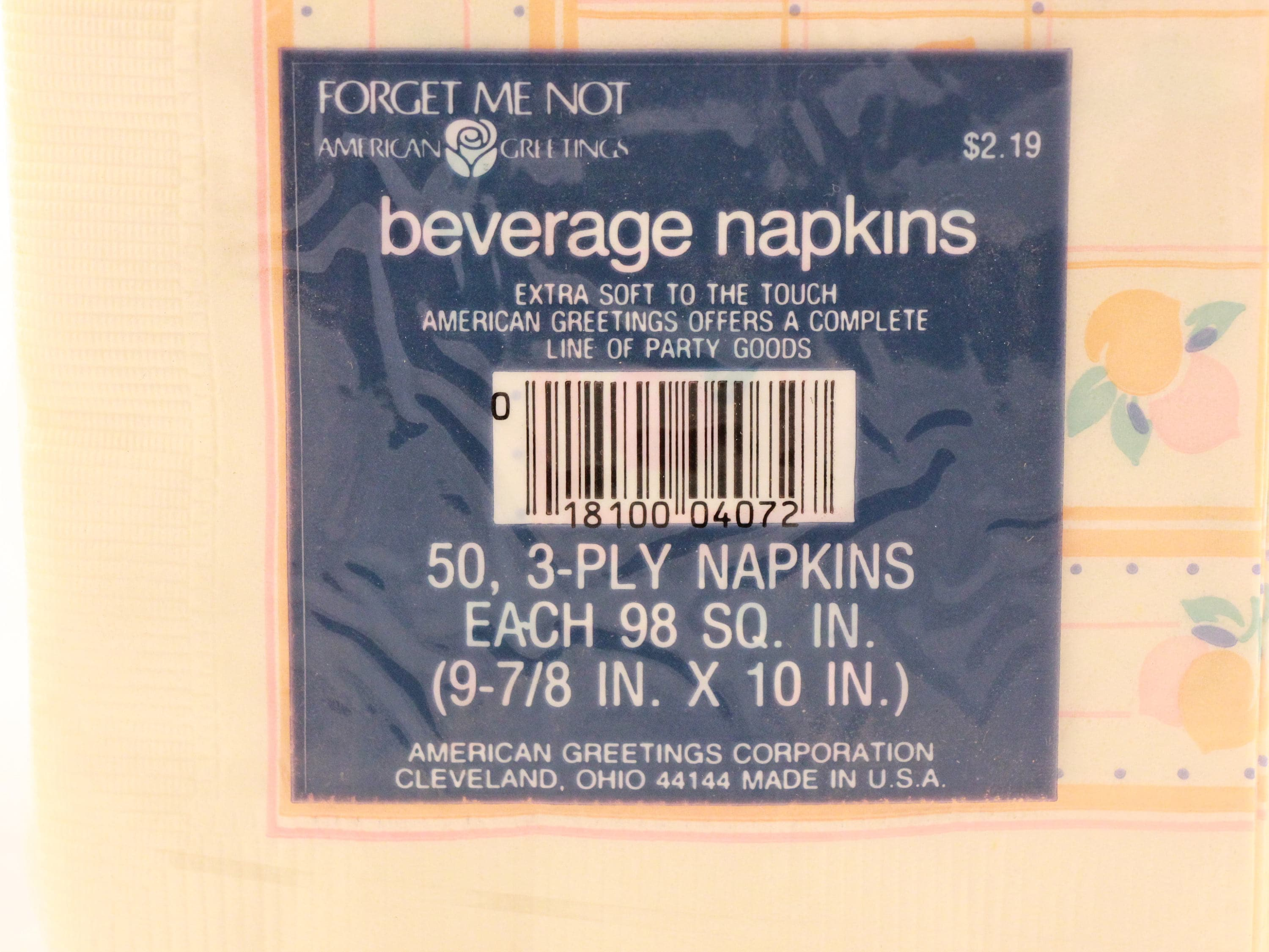 Vintage sealed package of beverage napkins peaches by american 1 m4hsunfo