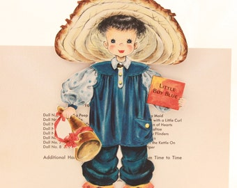 """Vintage/New 1949 Hallmark """"Little Women"""" Doll Greeting Card with Envelope. RARE!!!! with feathers. Little Boy Blue NO.8"""