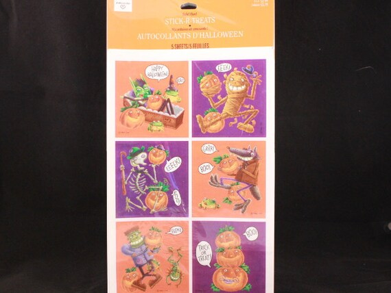 "Sealed Vintage Hallmark Ambassador Halloween 5 Sheet Sticker Package 6"" by 9"" Sheets"