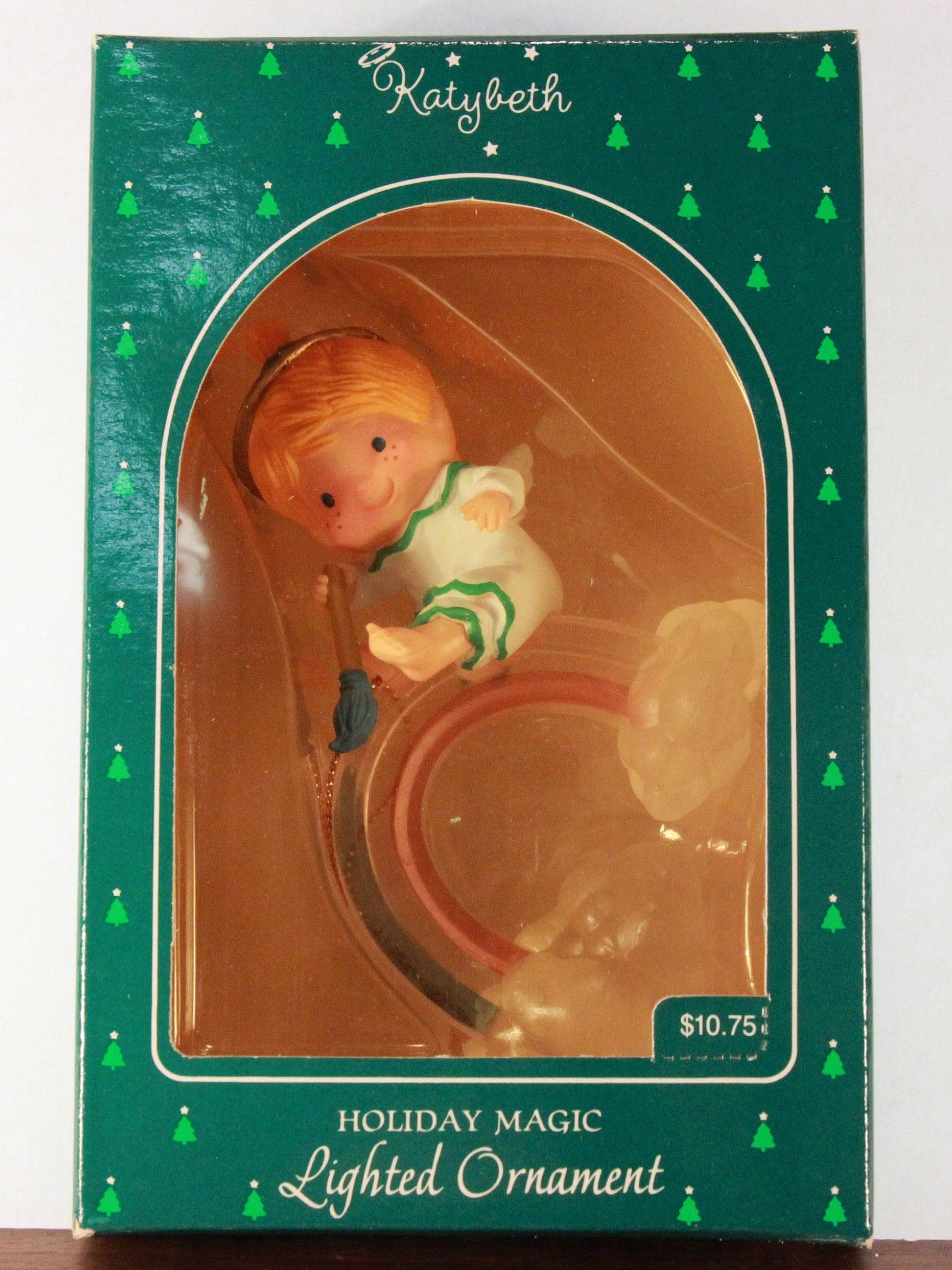 New Vintage 1985 Hallmark Katybeth Holiday Magic Lighted Ornament