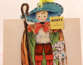 """Vintage/New 1949 Hallmark """"Little Women"""" Doll Greeting Card with Envelope. RARE!!!! with feathers. Monty of Australia No. 29"""