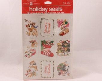 Vintage American Greetings Animal Holiday Seals. 36 Pressure Sensitive Sealed Stickers