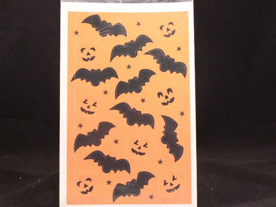 """Vintage Bats & Pumpkins by Current. 4-Halloween 9 by 5 1/2"""" Sealed Sheets. USA. Colorado Springs!"""