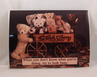 Vintage ~Try To Look Busy~ 10X7.5 Inch Laminated Greeting Card with Envelope.