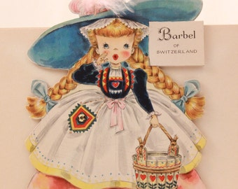 """Vintage/New 1949 Hallmark """"Little Women"""" Doll Greeting Card with Envelope. RARE!!!! with feathers. Barbel of Switzerland No. 30"""