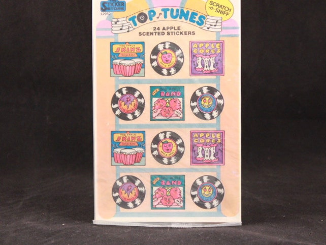 Vintage Sticker Store Top Tunes Apple Scented Stickers. Sealed Package. Scratch and Sniff