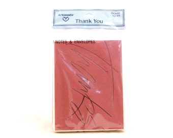 "New/Old Stock Hallmark ""Thanks"" Cards. 8 Notes and Envelopes. Sealed. Burgundy"
