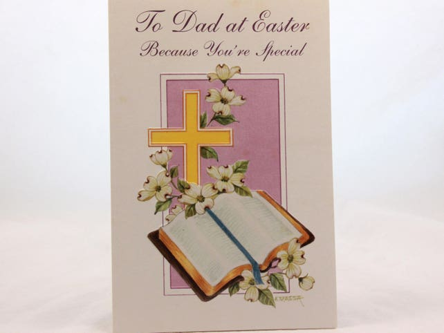 """Vintage-Magic Moments/Easter Card and Envelope """"To Dad at Easter, Because You're Special"""""""